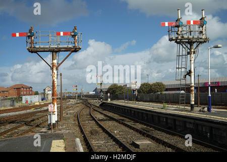 Blackpool North Station Semaphore Signals - 1 - Stock Image