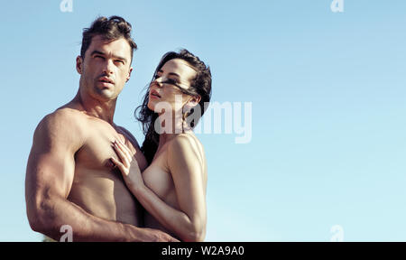 Closeup portrait of the young, nude couple - Stock Image