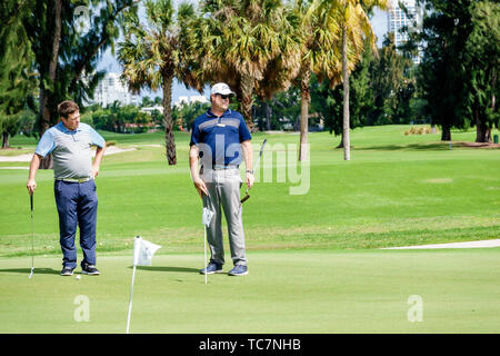 Miami Beach Florida Normandy Shores Public Golf Club Course golfers practice putting green man adult brothers - Stock Image