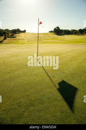 Golf flag in full sun on Green, long shadow. - Stock Image