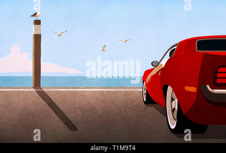 Red sports car parked at sunny ocean beach - Stock Image