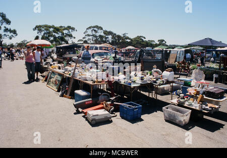 The Trash and Treasure market in Gepps Cross, South Australia features a large number of stalls selling second hand and brand new goods. - Stock Image