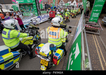 Police motorbikes at the start of the 2018 Ovo Women's Tour - Stock Image