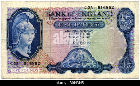 1950s Bank of England Five Pounds Note with signature of L K O'Brien  Chief Cashier date 1957 FOR EDITORIAL - Stock Image