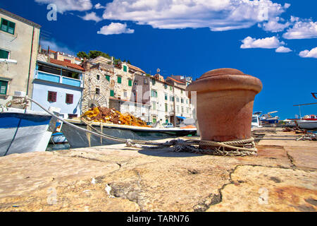 Historic UNESCO town of Sibenik old harbor and waterfront view, Dalmatia region of Croatiaa - Stock Image