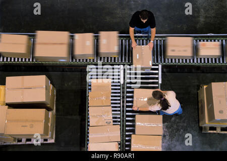Warehouse employees organizing cardboard boxes moving on a conveyor belt in a distribution warehouse. - Stock Image