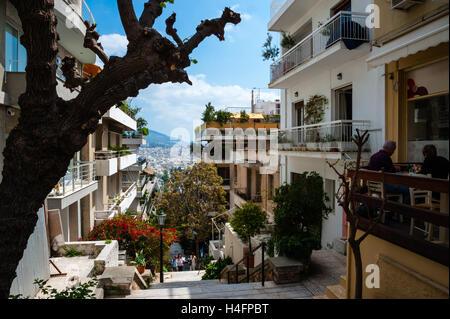 Athens, Greece. Street below Mount Lycabettus. - Stock Image