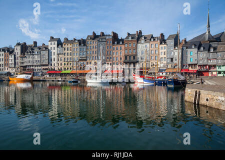 The ancient harbour in Honfleur, Normandy, France - Stock Image