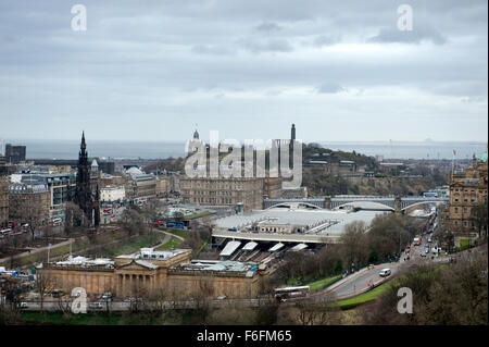 An almost aerial view from Edinburghs castle hill.  Looking across the national gallery and station to Calton Hill - Stock Image