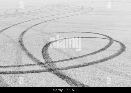 Detail of tire tracks on Salt Flats - Stock Image