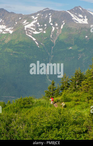 Backpacking to the Spencer Glacier Bench Cabin, Chugach National Forest, Alaska. - Stock Image