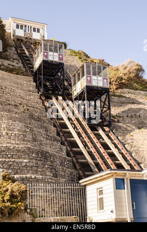 West Cliff Railway, West Cliff Lift, funicular railway Bournemouth UK - Stock Image