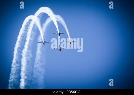 Stunt Planes performing at the 2018 Southport Airshow - Stock Image