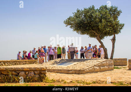 5 May 2018 A group of Irish Tourists at the view point on mount Precipice Israel. Tradition has this as the place where an angry mob would have cast J - Stock Image
