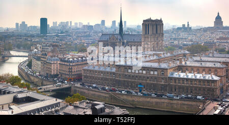 Aerial view of Ile de la Cite and Cathedral of Notre Dame on a cloudy day, France - Stock Image