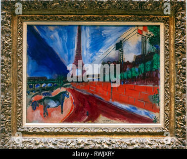 Le Pont de Passy et la Tour Eiffel, Marc Chagall , The Metropolitan Museum of Art, Manhattan, New York USA - Stock Image