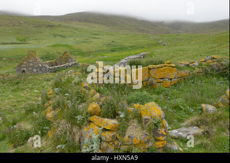 Abandoned cottages on the isle of Mingulay in the Western Isles, Scotland. June 2015. - Stock Image