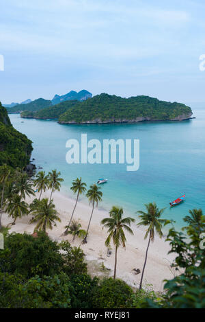 Aerial view of the main beach and dock of Ko Wua Talap island in Ang Thong national marine park, thailand - Stock Image