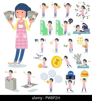 A set of Childminder women with concerning money and economy.There are also actions on success and failure.It's vector art so it's easy to edit. - Stock Image