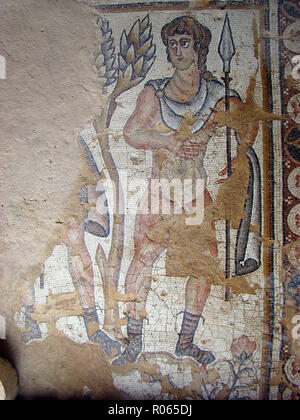 6362. Sepphoris mosaic, late Roman depicting a hunter. - Stock Image