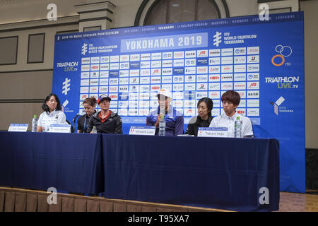 (L-R) Elite v.l. Yuko Takahashi, Katie Zaferes, Vincent Luis, Takumi Hojo: May 16, 2019, Yokohama, Japan: Press Conference for the 2019 ITU World Triathlon and Paratriathlon Yokohama at the Monterey Hotel in Yokohama, Japan. The race will be held on May 18-19 2019 near Yamashita Park in Yokohama. Credit: Michael Steinebach/AFLO/Alamy Live News - Stock Image