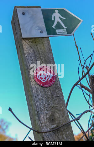 An arrow sign on a footpath waymarker post saying 'two saints way' footpath provided by Cheshire County Council - Stock Image