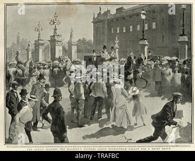 King Edward VII illness, doctrors leaving Buckingham Palace, 1902. Edward's coronation had originally been scheduled for 26 June 1902. However, two days before, on 24 June, he was diagnosed with appendicitis. - Stock Image
