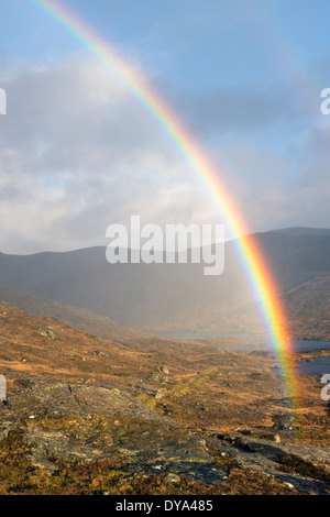 Rainbow at Urgha on the Isle of Harris - Stock Image