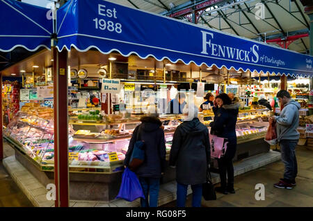 Fenwicks of Darlington Established 1988 meat and pie stall in Darlington Victorian covered market - Stock Image
