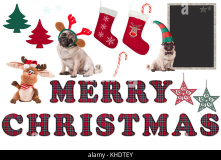 cute Christmas elements and objects isolated on white background - Stock Image