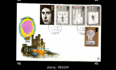 Prince of Wales Investiture, UK first day cover. - Stock Image