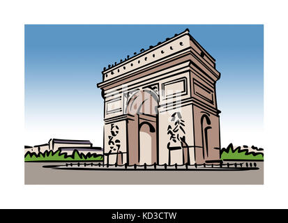 Illustration of the Arc de Triomphe in Paris, France - Stock Image