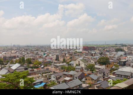 View of former Maruoka town from donjon of Maruoka castle. Modern city of Sakai was established in 2006 absorbing - Stock Image