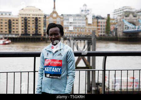 London, UK. 25th Apr, 2019. Mary Keitany(Ken) attends The London Marathon Elite Women's Photocall which took place outside the Tower Hotel with Tower Bridge in the background ahead of the Marathon on Sunday.  Credit: Keith Larby/Alamy Live News - Stock Image