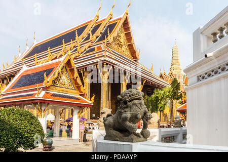 Stone temple lion, Grand Palace, Bangkok, Thailand - Stock Image