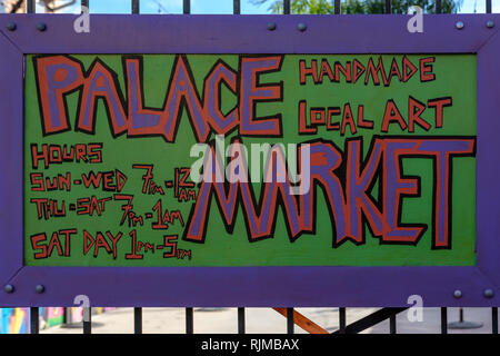 Palace Market Frenchmen street sign, Frenchmen Street, Marigny Neighbourhood, New Orleans French Quarter, New Orleans, Louisiana, USA - Stock Image