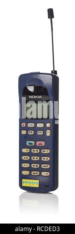 A NOKIA THX-62Y vintage mobile phone from the 1990's. The model is a branded version by People's Phone and is similar to the Nokia 101 - Stock Image