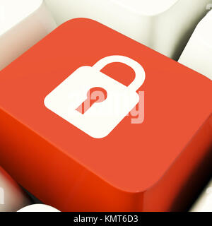Padlock Icon Computer Key Showing Safety Security Or Protected - Stock Image