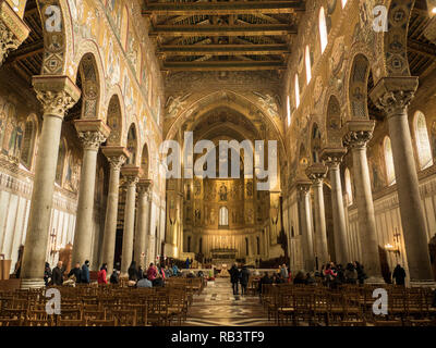 Interior of fhe Normal architecture of the Cathedral of Monreale, a town in the Metropolitan City of Palermo, Sicily, Italy - Stock Image