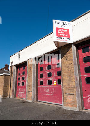 Old closed fire station building now for sale in Llandrindod Wells, Powys Wales UK. - Stock Image