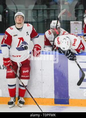 St Petersburg, Russia. 21st Mar, 2019. ST PETERSBURG, RUSSIA - MARCH 21, 2019: HC Lokomotiv Yaroslavl's Danil Yurtaikin, Pavel Kudryavtsev, and Stepan Sannikov (L-R) upset after losing Leg 5 of their 2018/19 KHL Western Conference semi-final playoff tie against HC SKA St Petersburg, at the Ledovy Dvorets arena. Alexander Demianchuk/TASS Credit: ITAR-TASS News Agency/Alamy Live News - Stock Image