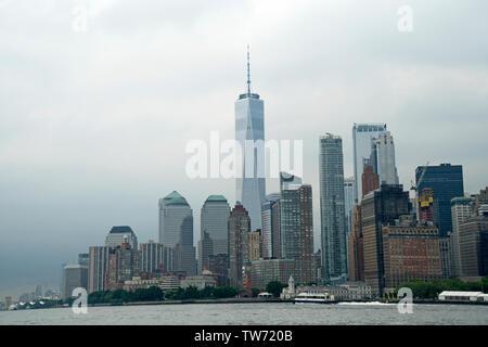 Lower Manhattan as seen from the Upper Bay of New York harbor. June 17, 2019 - Stock Image