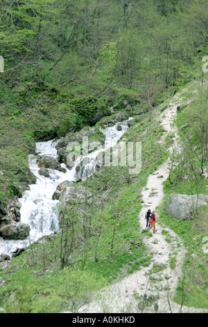 walkers in the Gola d'Infernaccio in the Sibillini National Park, Le Marche (the Marches) Italy (Italia) - Stock Image