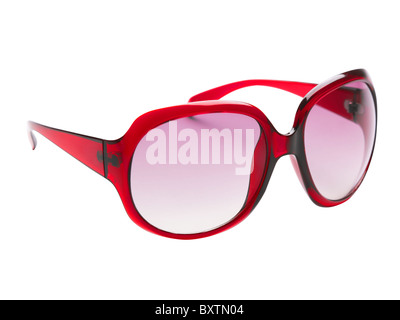 A still life shot of pair of red sunglasses/glasses shot on a white background - Stock Image