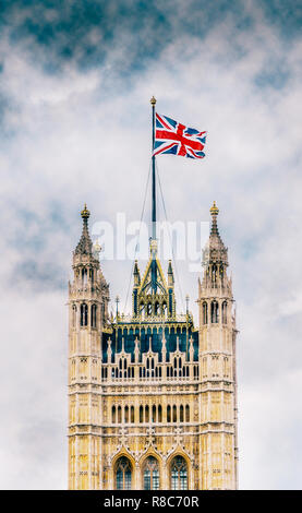 Nebulous Victoria Tower, Palace of Westminster, United Kingdom during Brexit negotiations in December 2018 - Stock Image
