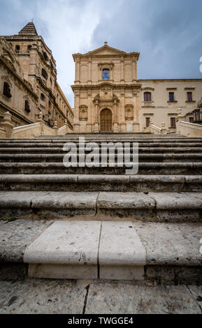Stairs in front of Church of Saint Francis of Assisi in Noto city, Sicily in Italy - Stock Image