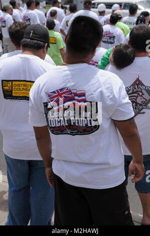Members of several Unions gathered together in Union Rally. Waikiki, Honolulu, Hawaii, USA - Stock Image