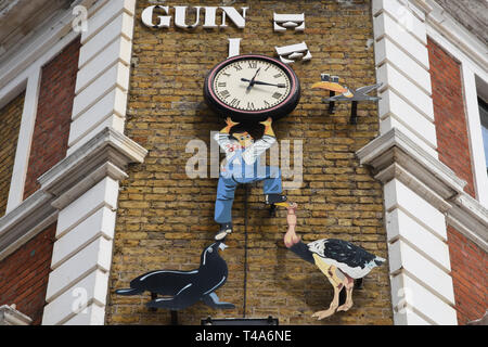 Broken Guiness Sign, Archway, London. UK - Stock Image