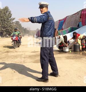 Nepali policeman, 2017 - Stock Image