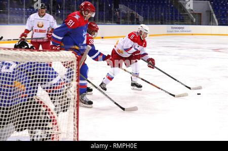 Sochi, Russia. 15th Feb, 2019. Russian President Vladimir Putin, #11, right, during a friendly ice hockey match with Belarus President Alexander Lukashenko, left, at the Shaiba Arena February 15, 2019 in Sochi, Russia. Credit: Planetpix/Alamy Live News - Stock Image